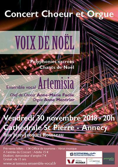 Concert « Voix de Noël » Chœur et orgue à Annecy