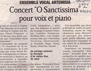 Concert «O Sanctissima » pour voix et piano