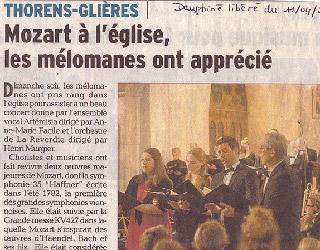 Mozart Messe en ut à Thorens-les-Glières